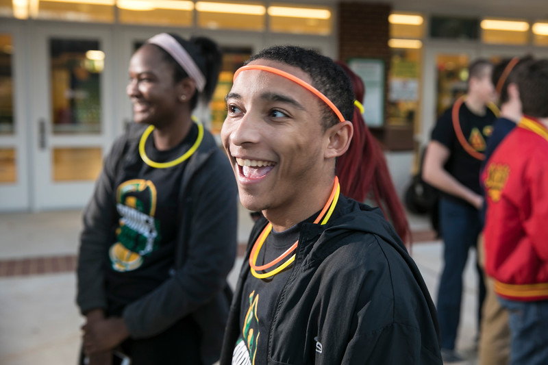 PAC and fellow Mason Patriots parade from EagleBank Arena to JC Dewberry Hall to celebrate the kick-off of Homecoming Week 2017.  Photo by:  Ron Aira/Creative Services/George Mason University
