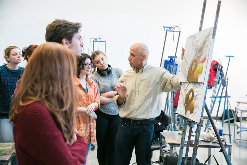 Professor Chawky Frenn in his Painting and Drawing class.  Photo by:  Ron Aira/Creative Services/George Mason University