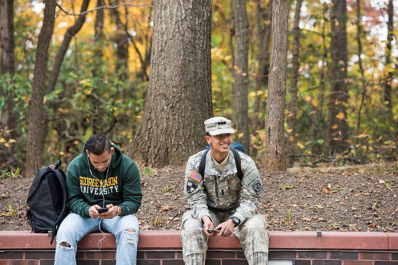 Military students on the Fairfax Campus in the Fall.  Photo by:  Ron Aira/Creative Services/George Mason University