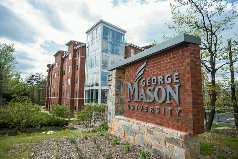 George Mason University sign near the Potomac Heights residence hall