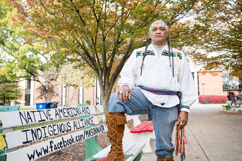 Dean Hutchins, senior in Mason's BFA program in Creative Writing is also active in his Native American and Indigenous Studies minor and in the native American and Indigenous Alliance.  Photo by:  Ron Aira/Creative Services/George Mason University