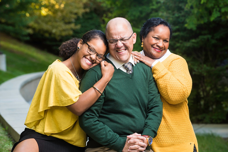 2016 Alan and Sally Merten Family of the Year Award goes to the Enrique family: Daughter Risa, Carlos, and Jill.  Photo by Ron Aira/Creative Services/George Mason University.  Photo by:  Ron Aira/Creative Services/George Mason University