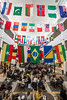 International flags in the Johnson Center