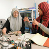 Salma Mahmoud and Sidra Khan in Bioengineering lab