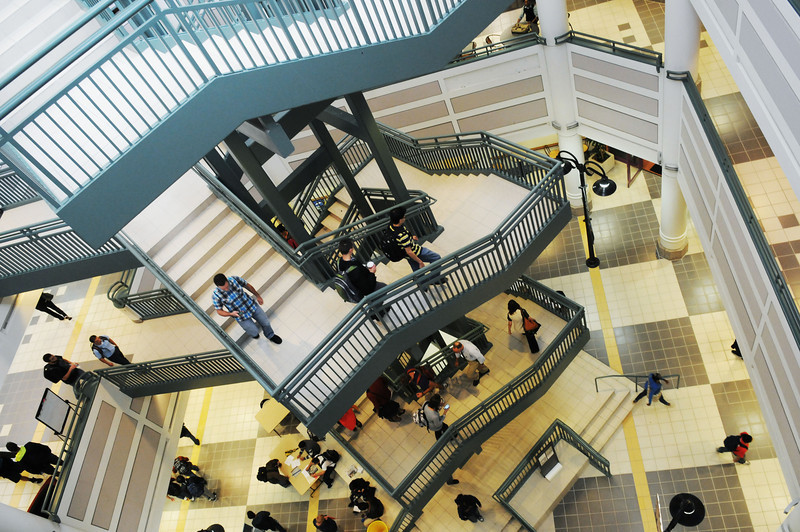 A stairwell in the Johnson Center. Photo by Creative Services/George Mason University