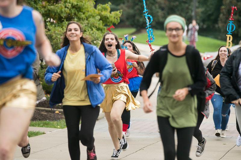 Sorority Bid Day.  Photo by:  Ron Aira/Creative Services/George Mason University