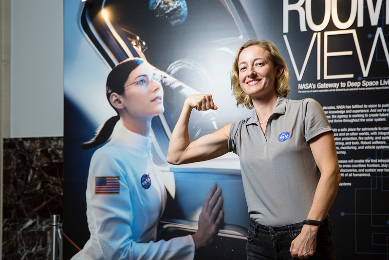 Charlotte Brock, who earned her master's degree in psychology from Mason in 2016, and is now a management and program analyst at NASA, said going through the Presidential Management Fellows program improved her self-assurance.  Photo by:  Ron Aira/Creative Services/George Mason University