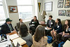 Students representing the NoVa/Loudoun region of Virginia, speak with Mason Alum and Virginia Delegate David Ramadan at Mason Lobby Day in Richmond. Photo by Alexis Glenn/Creative Services/George Mason University