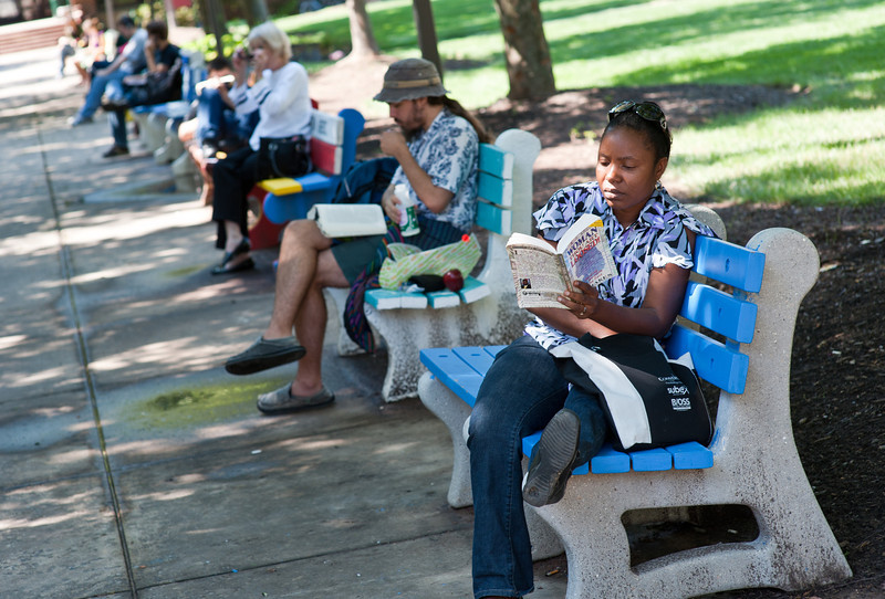 students on benches outside SUB I
