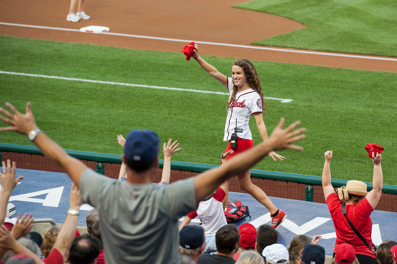 Student Katie Albisu, a Tourism and Events Marketing major, works with the marketing team for Major League Baseball's Washington Nationals. Photo by Alexis Glenn/Creative Services/George Mason University