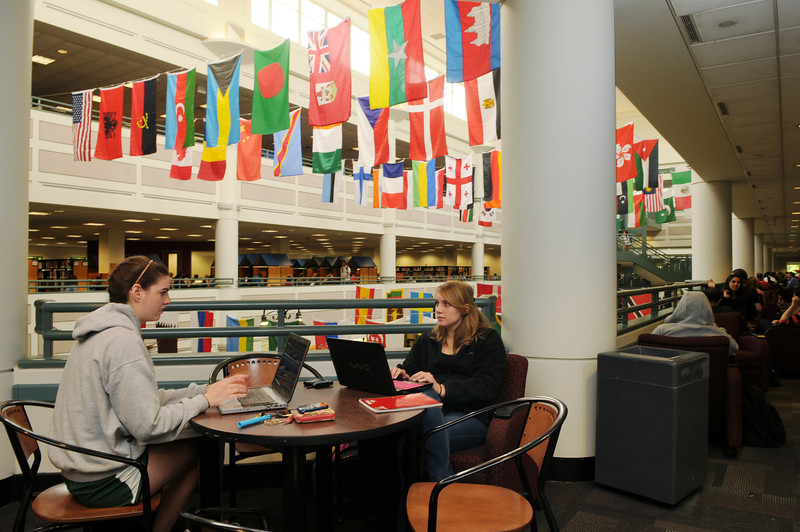 Student studying in the Johnson Center