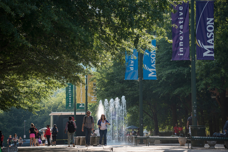 Fountains and banners