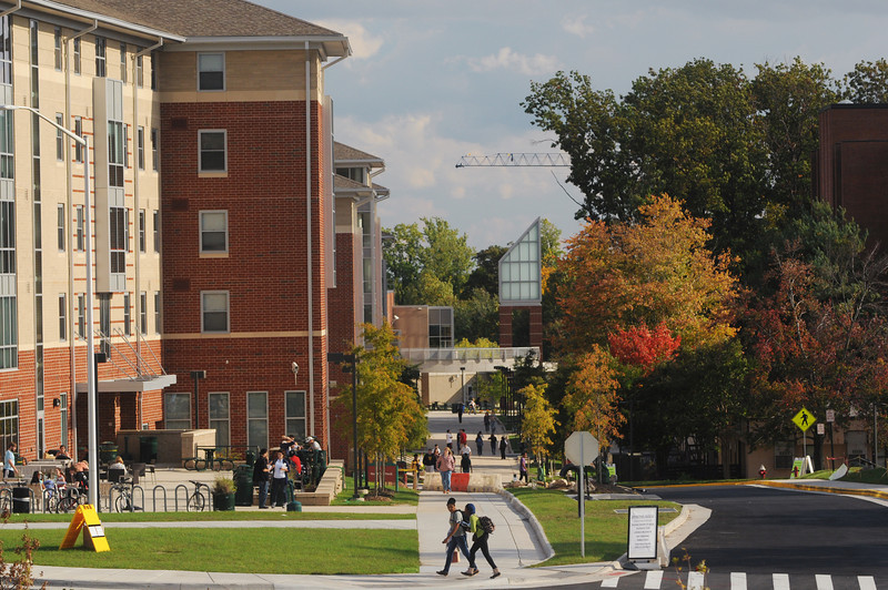 Students walking to class on the Fairfax campus.