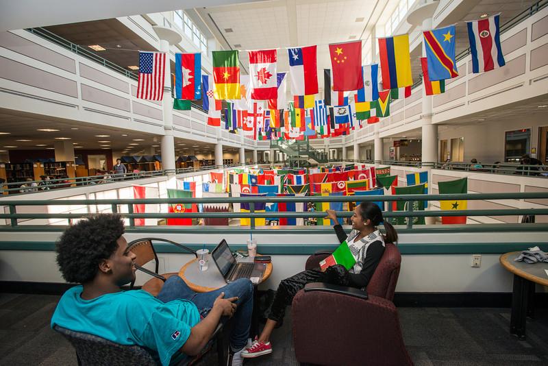 Johnson Center international flags