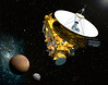 Artist's concept of the New Horizons spacecraft as it approaches Pluto and its three moons in summer 2015. Credit: Johns Hopkins University Applied Physics Laboratory/Southwest Research Institute (JHUAPL/SwRI)