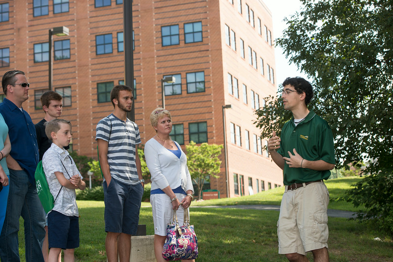 Juan Diego Lopez leads Admissions tour group