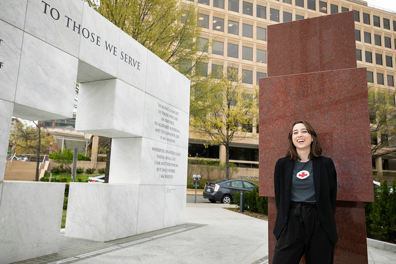 With help from the Unpaid Internship Scholarship, psychology major Jennifer Lyon has been able to intern with the American Red Cross in Washington, D.C., where she helps with social media management and government outreach. Photo by:  Ron Aira/Creative Services/George Mason University