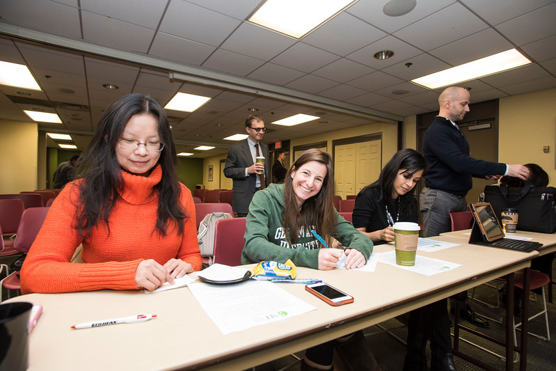 Judges at the preliminary rounds of the 3MT competition.  Photo by:  Ron Aira/Creative Services/George Mason University