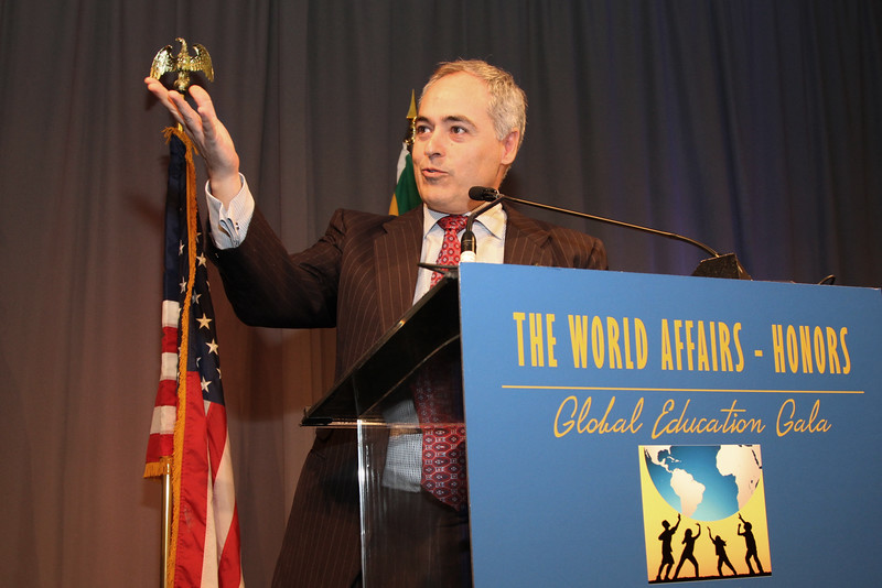 President Angél Cabrera accepts the Educator of the Year award on behalf of George Mason University at the HONORS Global Education Gala, World Affair's Council's annual dinner on March 29, 2016.  Focused Images
