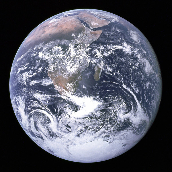 View of the Earth as seen by the Apollo 17 crew traveling toward the Moon. Provided by NASA