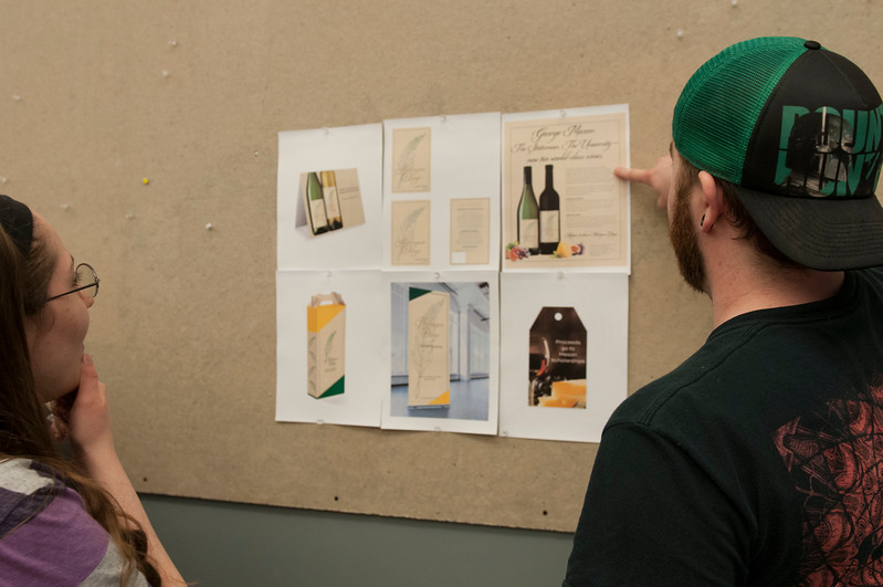 A class making labels for Mason's wine. Photo by Alexa Rogers/George Mason University