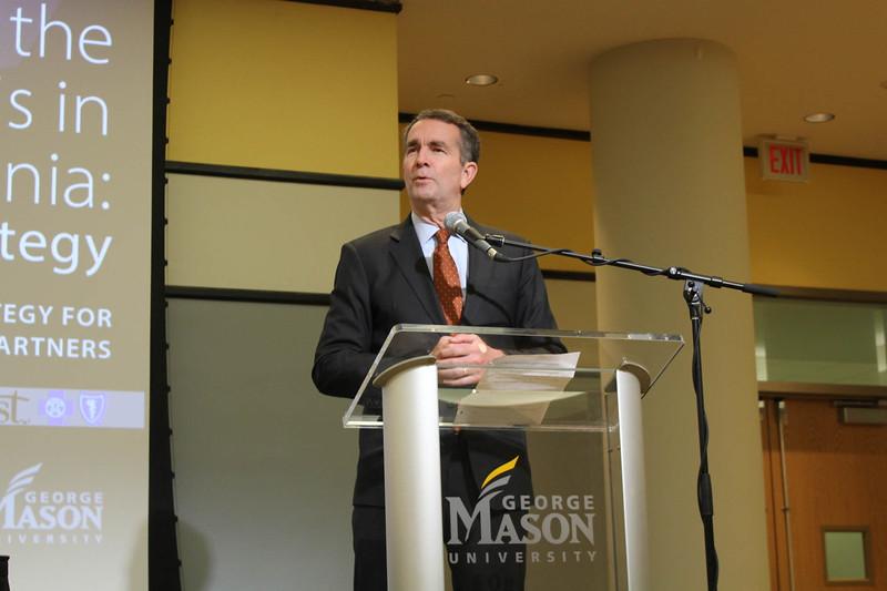 Governor Ralph Northam speaks during the Opioid Crisis Symposium.  Student Media photo.