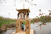 "A 20-foot handcrafted pagoda entitled the ""Temple of Transformance"" will burn on the Mason Pond on May 8, as part of the senior project of Michael Verdon.  Photo by Craig Bisacre/Creative Services/George Mason University"