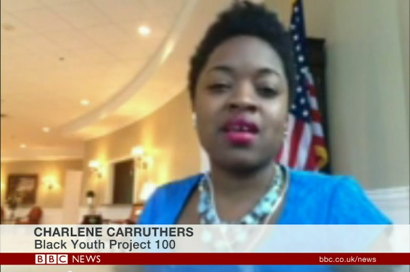 Frame grab from YouTube of Black Youth Project 100's Charlene Carruthers discusses Trayvon Martin protests, and race relations in the U.S.