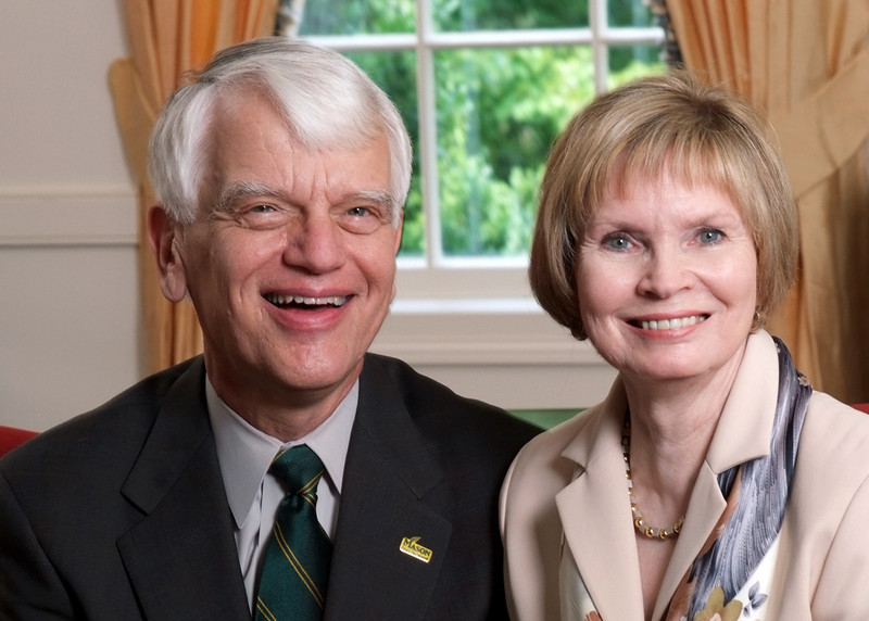 President Alan Merten and wife, Sally Merten. Photo by Evan Cantwell/Creative Services/George Mason University
