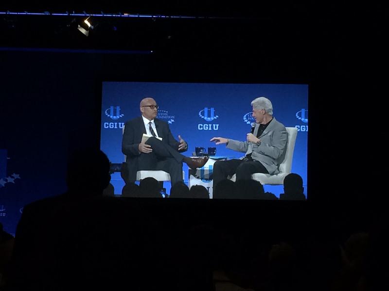 Bill Clinton speaks during the 2015 Clinton Global Initiative University (CGI U) meeting at the University of Miami.  Courtesy of Alissa Karton