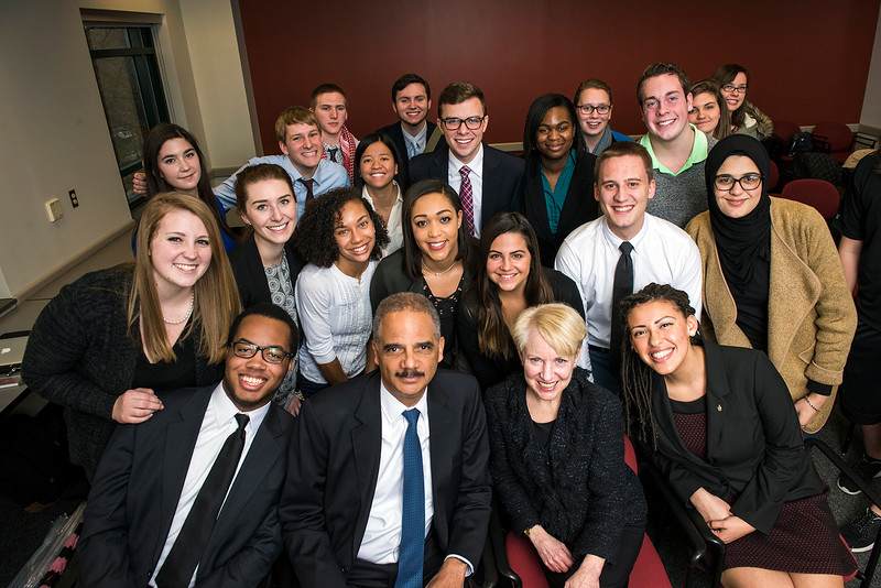 Eric Holder at Laurie Robinson's class