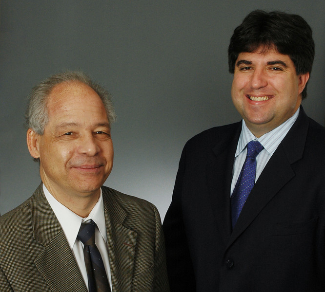 """Lance Liotta and Emanuel """"Chip"""" Petricoin.  Photo by Evan Cantwell/Creative Services/George Mason University"""