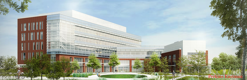 A courtyard rendering of the new College of Health and Human Services building at Fairfax Campus. Provided by Perkins Eastman