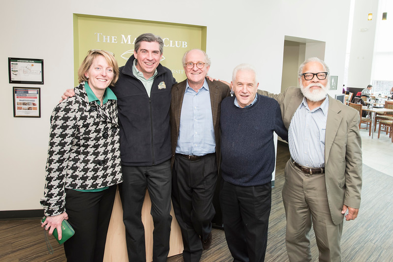 Senior Vice President for Administration and Finance, J.J. Davis, Assistant Vice President of Business Services, Marc Fournier, Rutledge Dennis, Steven Pearlstein, and Joe Scimecca pose at The Mason Club, a new faculty and staff dining room and lounge opens in Fairfax Campus.  Photo by:  Ron Aira/Creative Services/George Mason University