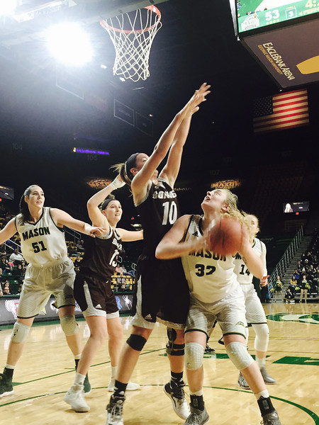 The George Mason women's basketball team defeated St. Bonaventure 89-79 in the first round of the Atlantic 10 Women's Basketball Championship at EagleBank Arena.  Photo by:  Ron Aira/Creative Services/George Mason University.  Photo by:  Ron Aira/Creative Services/George Mason University