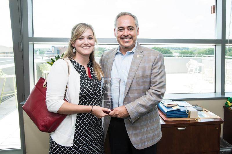Amanda Myers is the recipient of the Presidential Citation Award on July 6th 2016.  Photo by:  Ron Aira/Creative Services/George Mason University