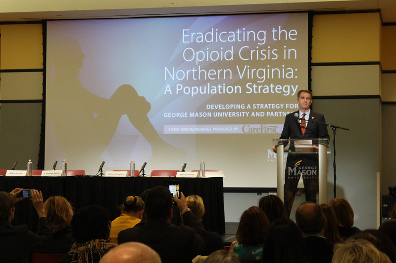 Governor Ralph Northam speaks during the Opioid Crisis Symposium.  Student Media photo.