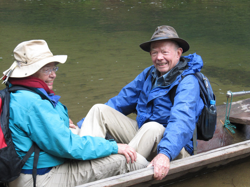 The first picture is of Marty and me in a village partial dugout canoe.  We travelled up rivers in these canoes, camping on sand bars, to get within walking distance of the grassland area.  Very uncomfortable!