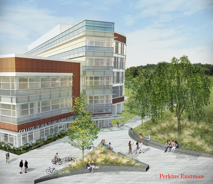 A aerial rendering of the new College of Health and Human Services building at Fairfax Campus. Provided by Perkins Eastman