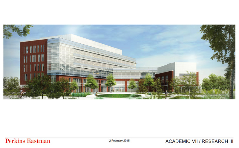 A rendering of the Academic VII/Research III building, which will be the flagship for the College of Health and Human Services. Perkins Eastman.