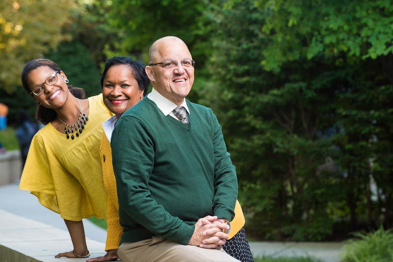 2016 Alan and Sally Merten Family of the Year Award goes to the Enrique family: Daughter Risa, Jill, and Carlos.  Photo by Ron Aira/Creative Services/George Mason University.  Photo by:  Ron Aira/Creative Services/George Mason University