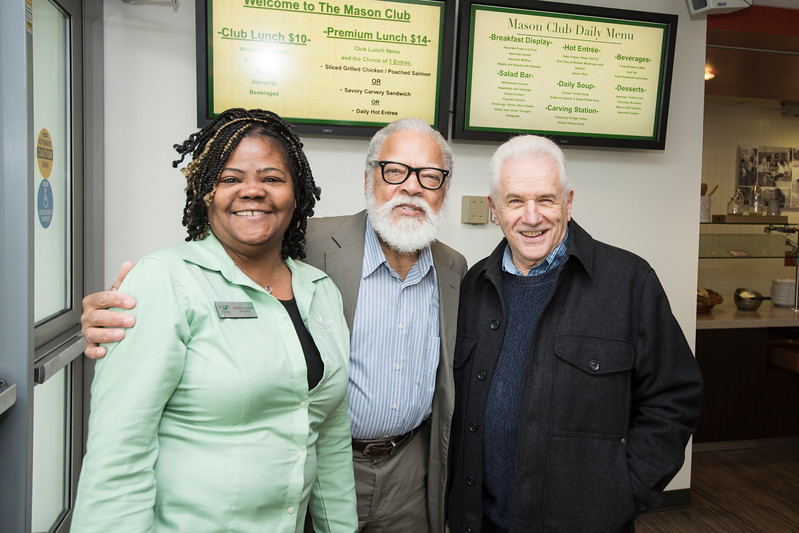 Manager Roshonda Alexander poses with Rutledge Dennis, and Joe Scimecca at The Mason Club, a new faculty and staff dining room and lounge opens in Fairfax Campus.  Photo by:  Ron Aira/Creative Services/George Mason University