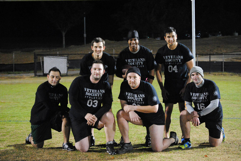 Student veterans play flag football
