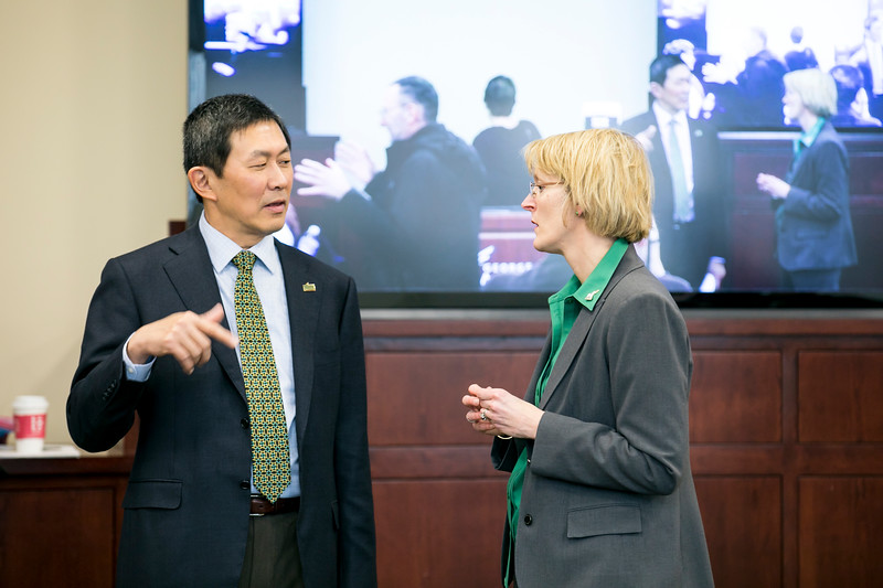 JJ Davis and David Wu are hosting a town hall budget meeting.  Photo by:  Ron Aira/Creative Services/George Mason University