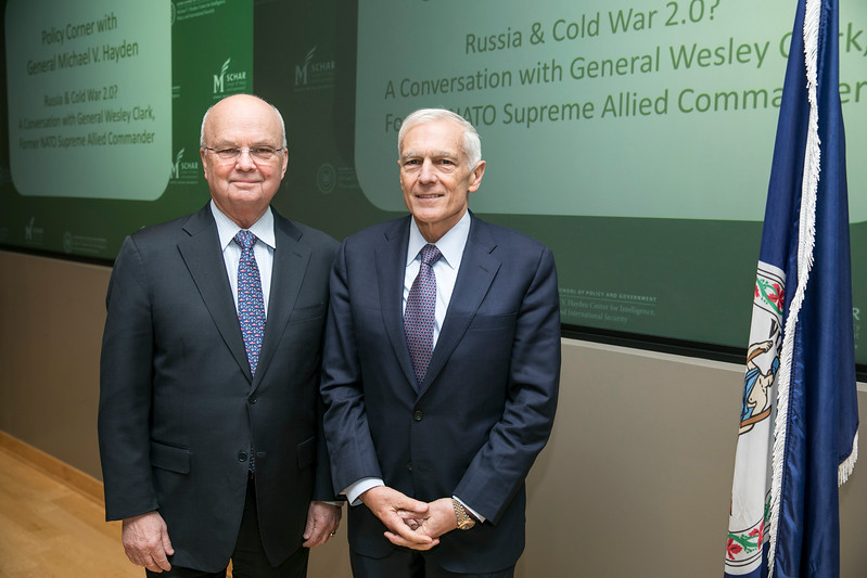 """Retired Army general, NATO Supreme Allied Commander Europe and 2004 presidential candidate Wesley Clark will discuss the heated U.S.-Russia relations during """"Russia and Cold War 2.0,"""" the second """"Policy Corner"""" event hosted by George Mason University's Michael V. Hayden Center for Intelligence, Policy and International Security.  Photo by:  Ron Aira/Creative Services/George Mason University"""