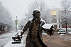 George Mason statue in the snow