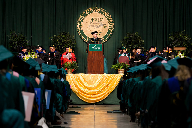 President Ángel Cabrera speaks during the 2012 Winter Convocation. Photo by Craig Bisacre/George Mason University