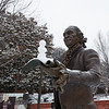 George Mason Statue in snow. photo by Ian Shiff/Creative Services