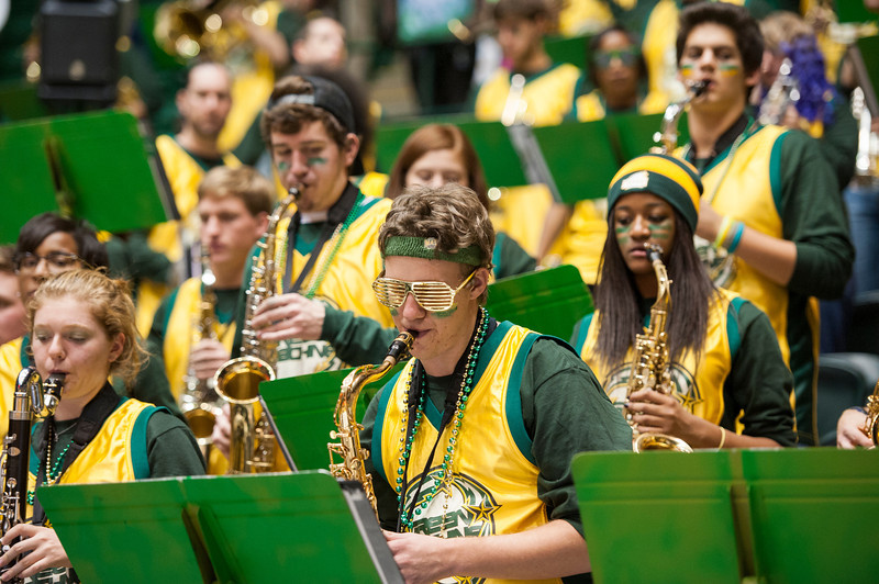 The Green Machine performs at Mason Madness at the Patriot Center. Photo by Alexis Glenn/Creative Services/George Mason University