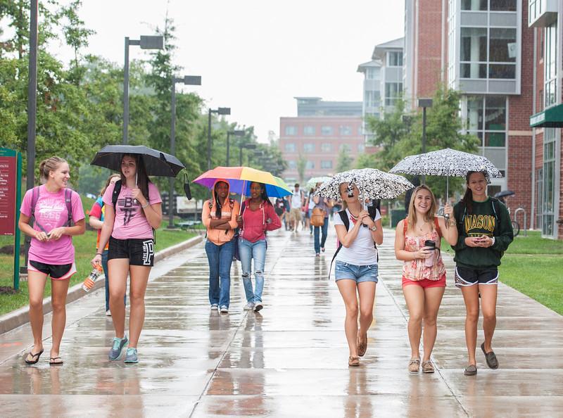 Students walk in the Rappahannock Neighborhood of Fairfax campus. Photo by Alexis Glenn/Creative Services/George Mason University